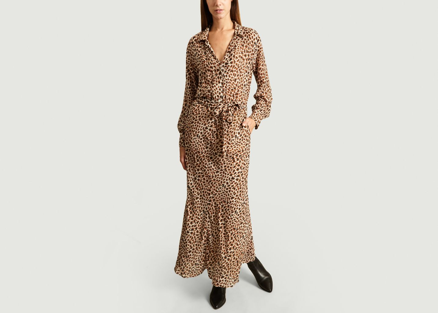 Robe Longue Asymétrique Imprimé Léopard - Diega