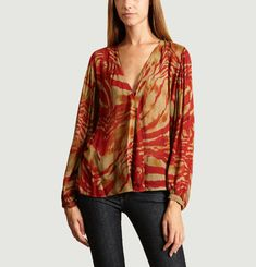 Blouse Tobia Col V Imprimé Jungle