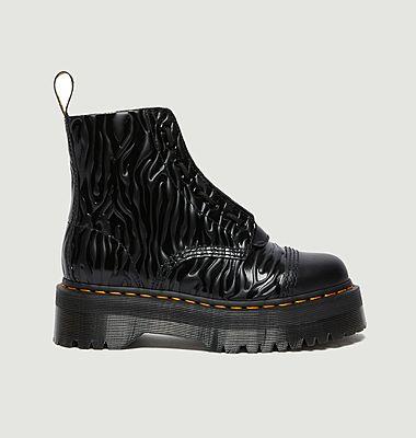 Boots en cuir verni gaufré à plateforme Sinclair Zebra