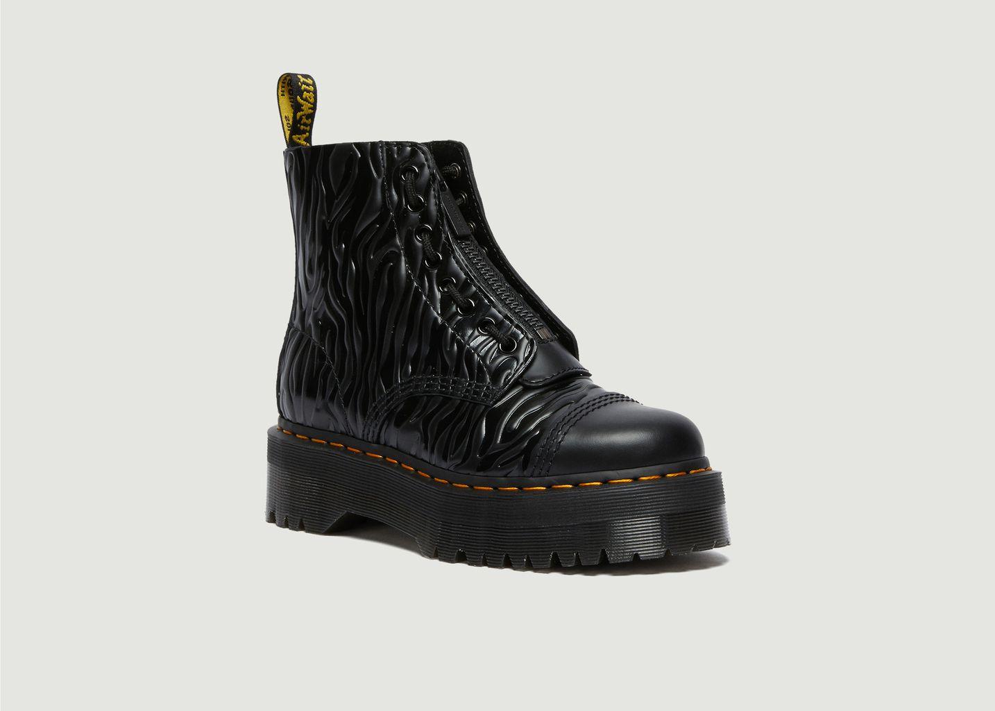 Boots en cuir verni gaufré à plateforme Sinclair Zebra - Dr. Martens