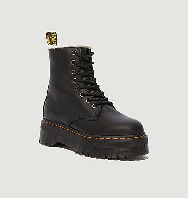 Boots fourrées en cuir à plateforme Jadon