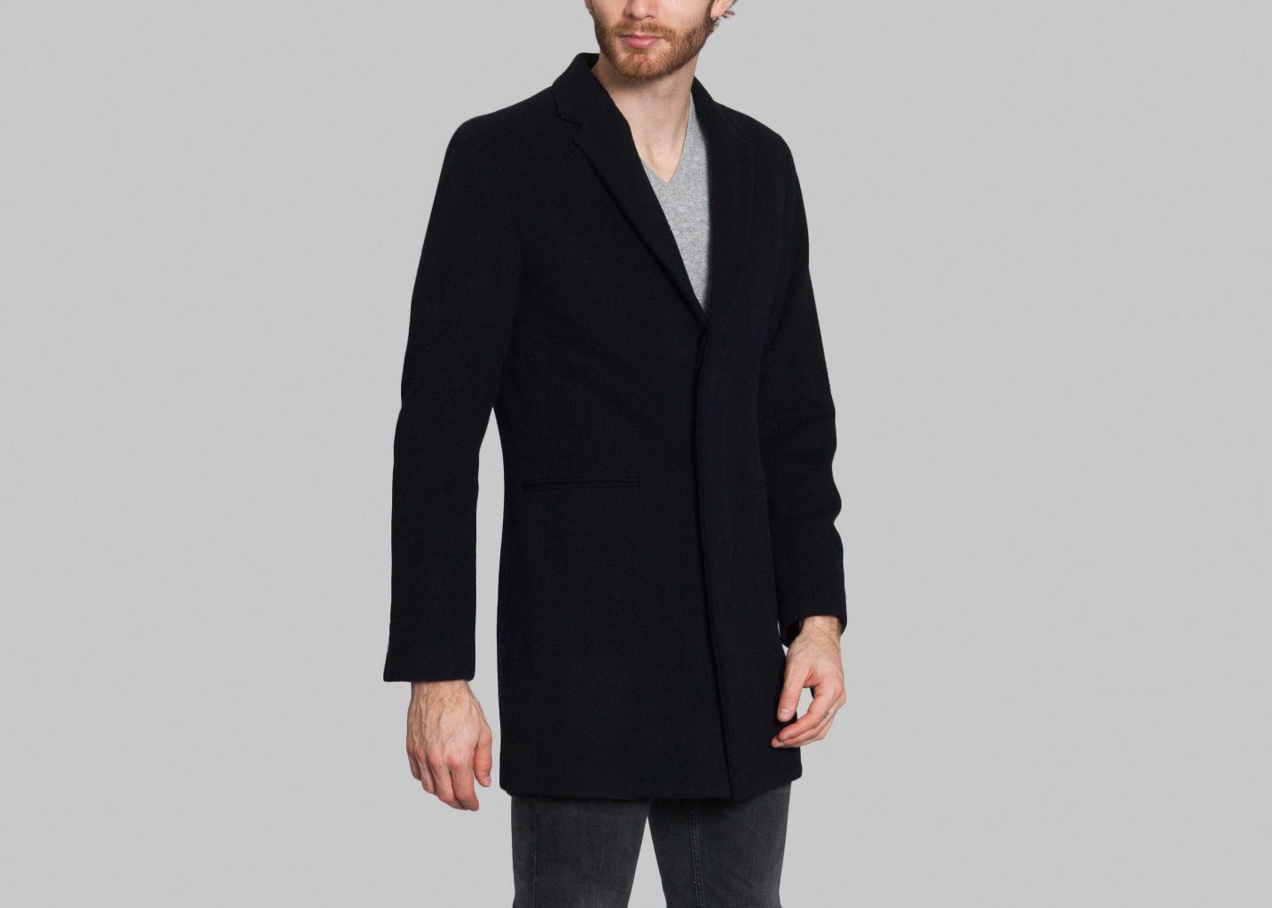 manteau laine drapeau noir bleu marine l 39 exception. Black Bedroom Furniture Sets. Home Design Ideas