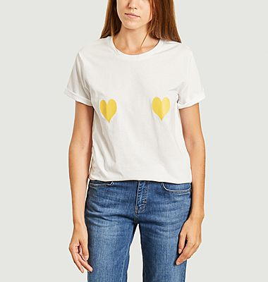 T-shirt with yellow hearts