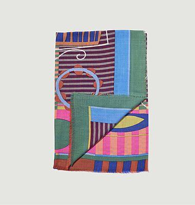 SW 2130 fancy pattern woolen square scarf