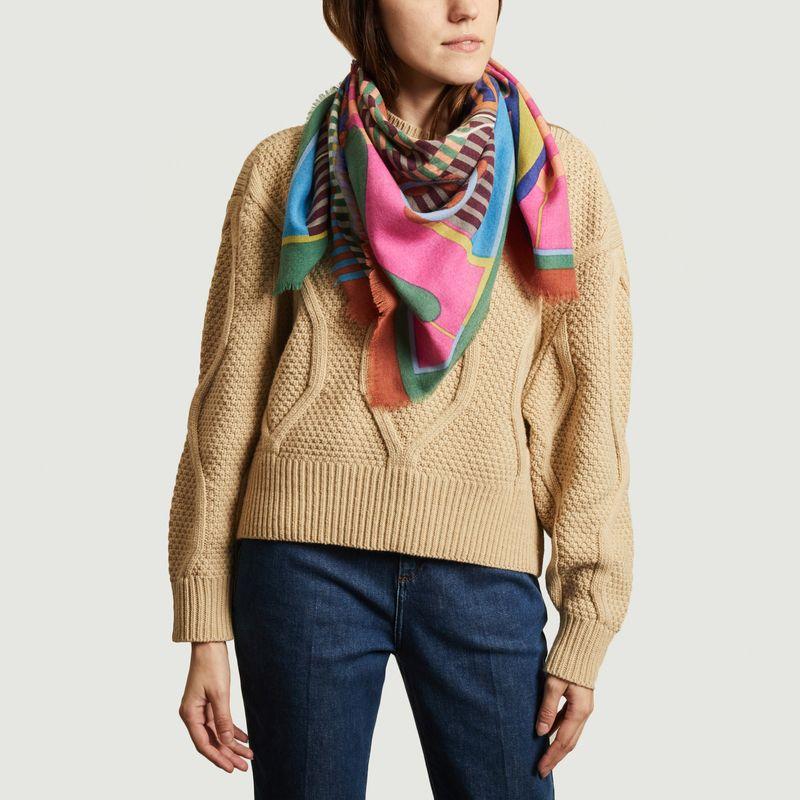 Foulard carré en lainage à motif fantaisie SW 2130 - Epice