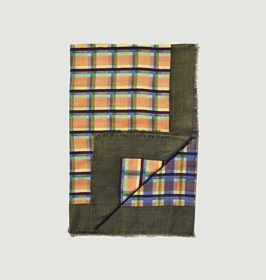 SW 2145 woolen checked square scarf