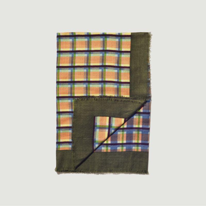 Foulard carré en lainage à carreaux SW 2145 - Epice