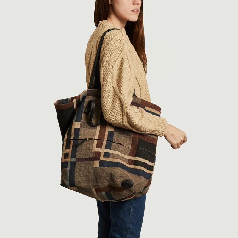 Grand sac cabas en lin à carreaux Delhi - Epice
