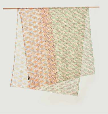 Cotton And Silk Stole With Geometric Pattern