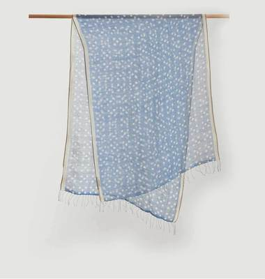 Polka Dots Pattern Linen And Cotton Scarf