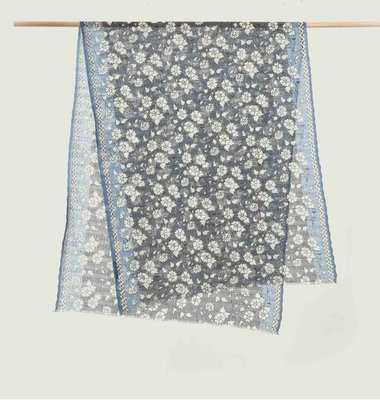 Floral Pattern Linen And Cotton Stole