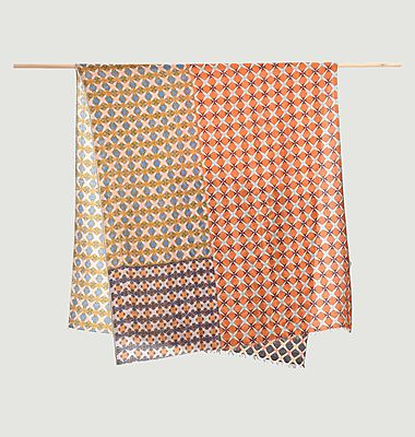 Geometric pattern wool and cashmere scarf