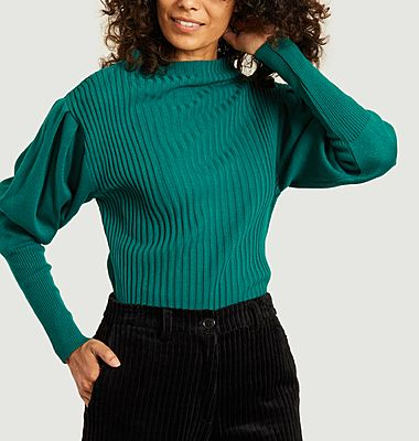 Elva cotton and wool ribbed sweater