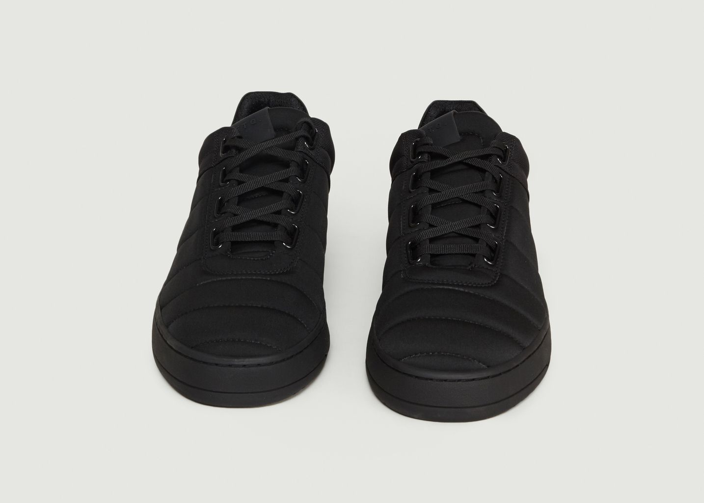 ETQ AMSTERDAM Black Leather Ribbed High Top Sneakers