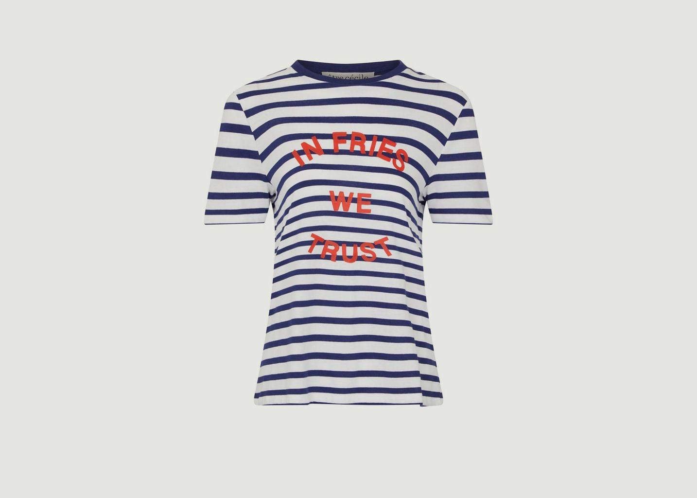 T-shirt rayé imprimé In Fries We Trust - Être Cécile