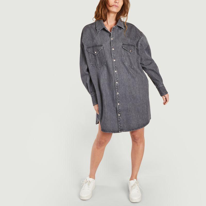 Robe-chemise courte oversize en denim Gloria - Façon Jacmin