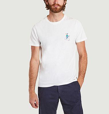 T-shirt imprimé cycliste et montagnes Arcy