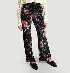 Pantalon Fleuri En Velours Moody