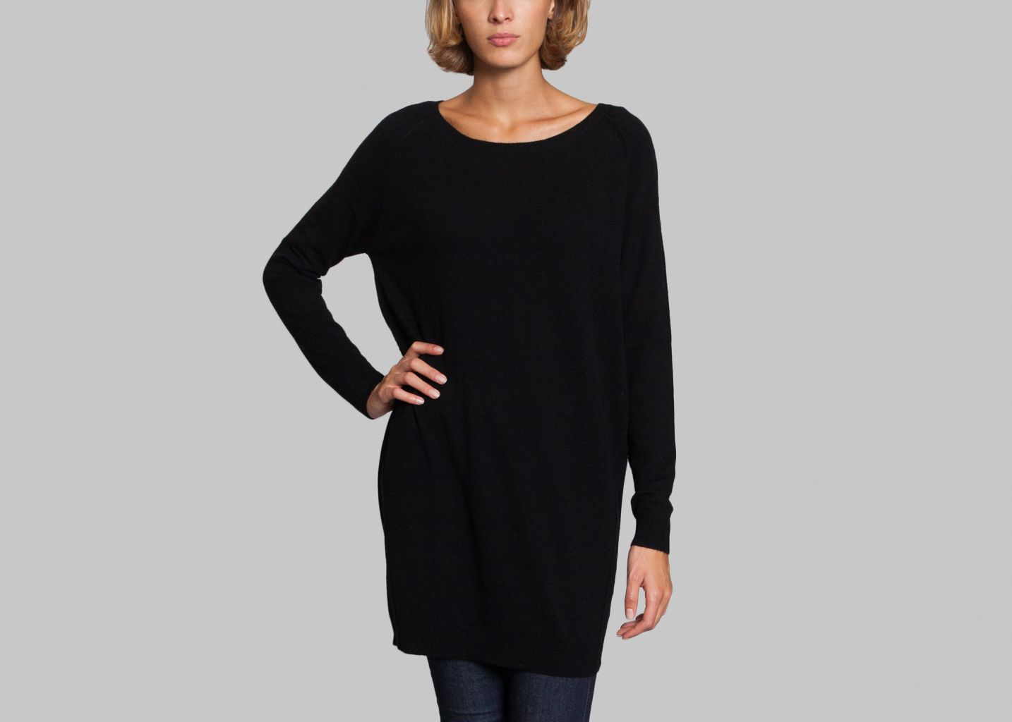 robe cachemire laine fine paris noir l 39 exception. Black Bedroom Furniture Sets. Home Design Ideas