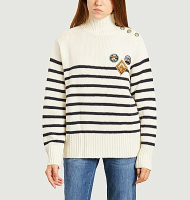 Pull marin oversize avec patchs
