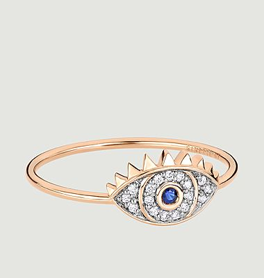 Bague oeil or rose, saphir et diamants Ajna