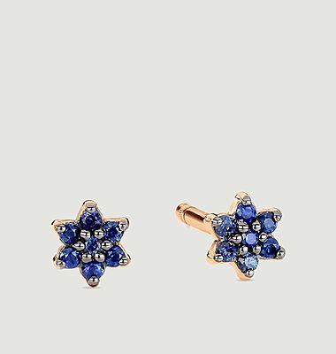 Boucles d'oreilles puces or rose et saphir Mini Star