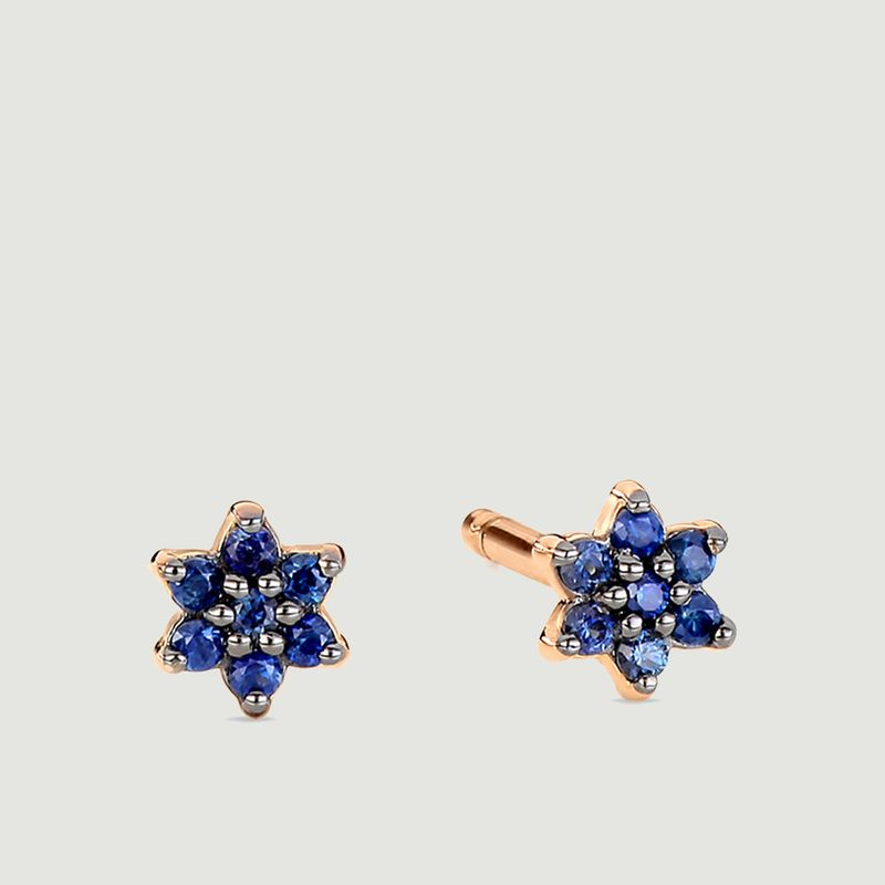 Boucles d'oreilles puces or rose et saphir Mini Star - Ginette NY