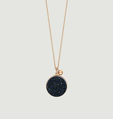 Collier chaîne or rose Ever Blue Sand Stone Disc