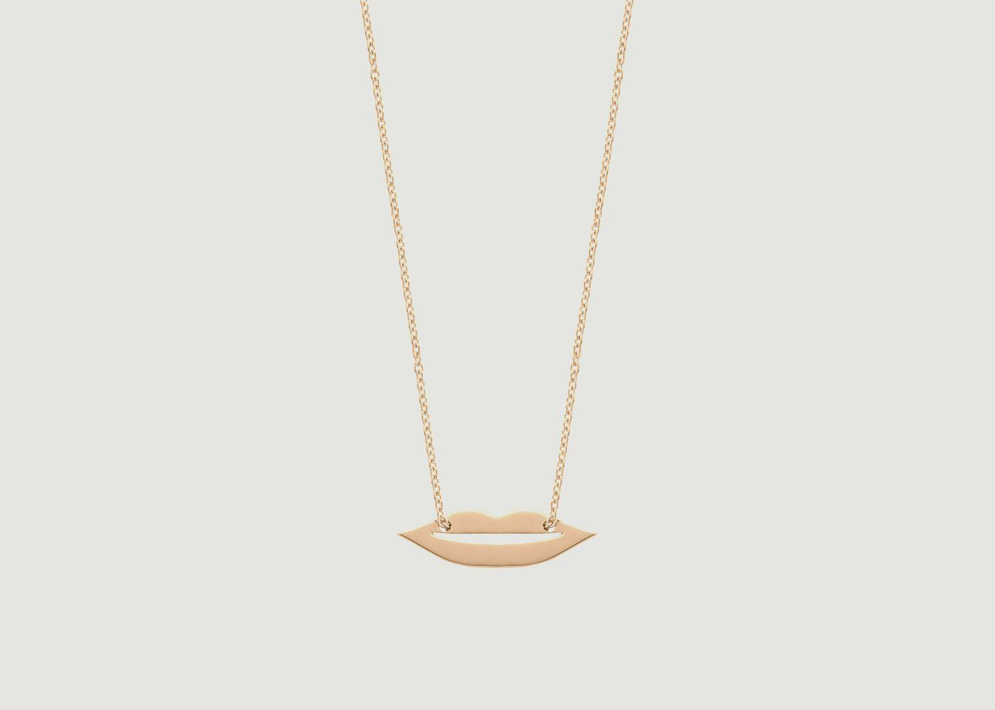 Collier chaîne et pendentif en or rose Mini French Kiss - Ginette NY