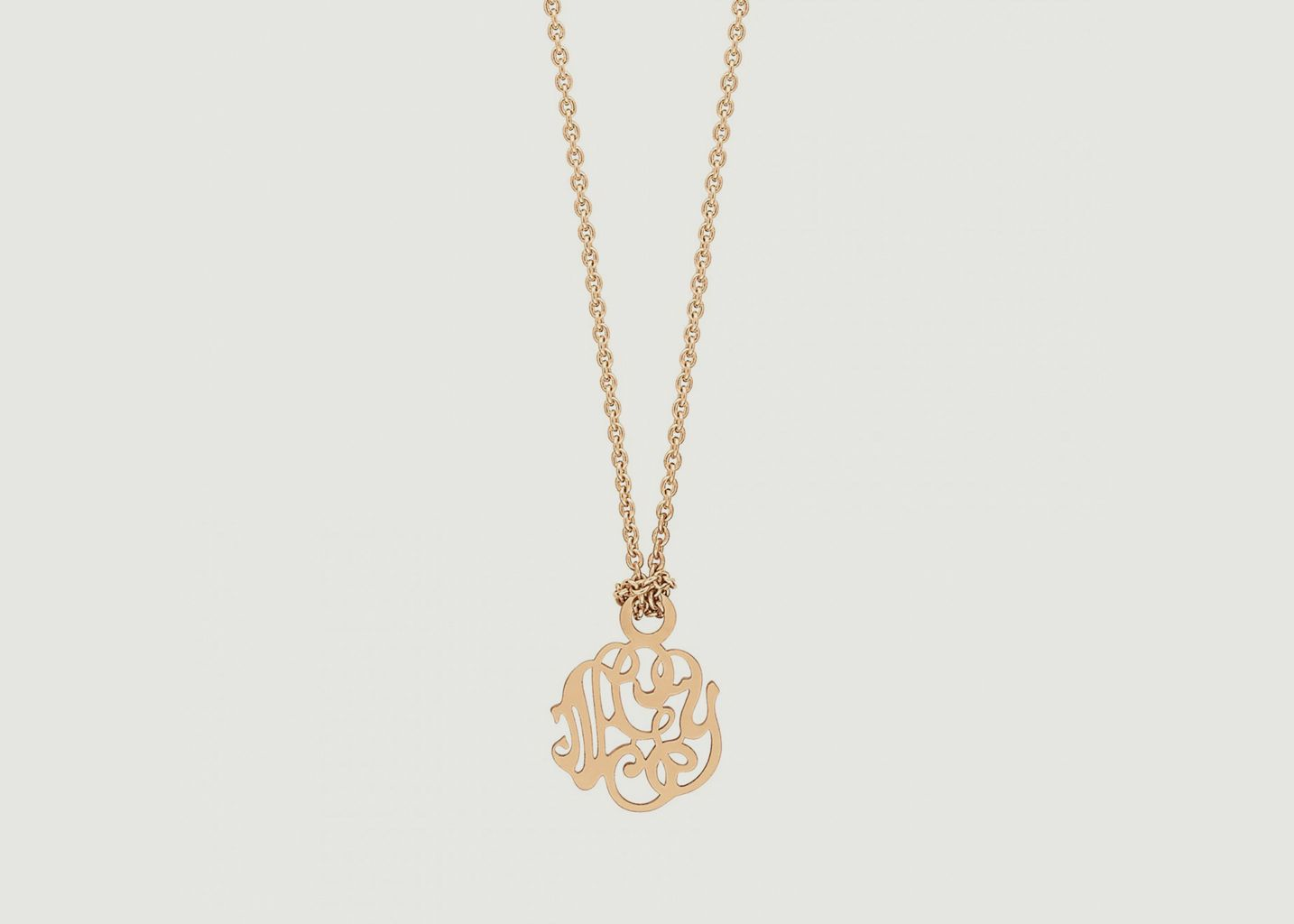 Monogram Necklace Pink Gold Ginette Ny