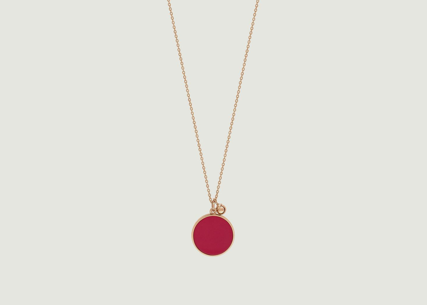 Collier Maria Coral Disc on Chain - Ginette NY