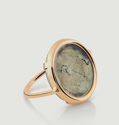 Bague Disc en Or Rose et Pyrite