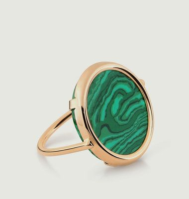 Bague Disc Ever en Or Rose et Malachite