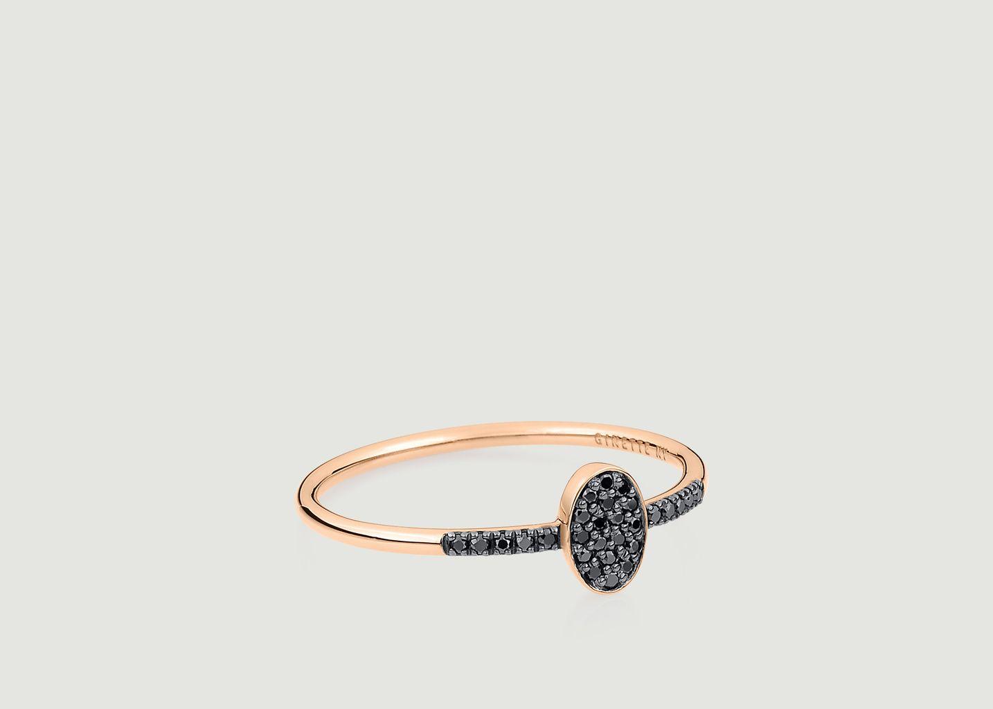 Bague Sequin Diamants Noirs - Ginette NY