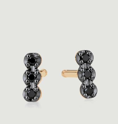 Boucles d'Oreilles Strip Black Diams