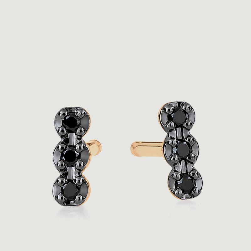Boucles d'Oreilles Strip Black Diams - Ginette NY