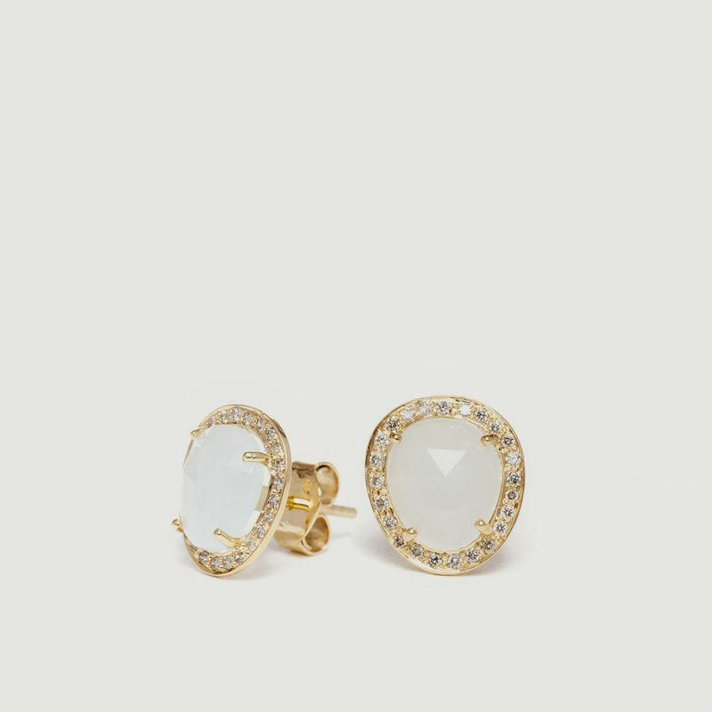 Boucles d'Oreilles Aigue-Marine et Diamants - Goyal Paris
