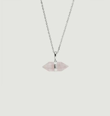 Collier Karma, Argent Quartz Rose