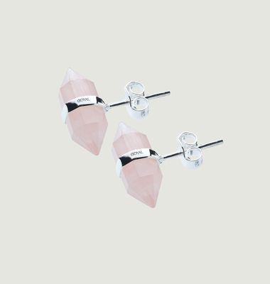 Boucle D'oreille Karma, argent, quartz rose