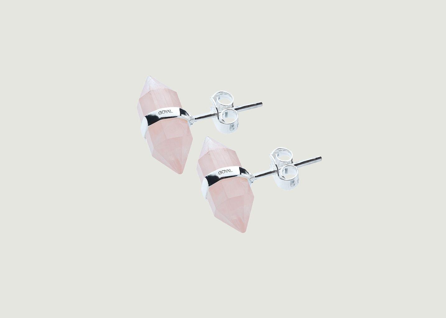Boucle D'oreille Karma, argent, quartz rose - Goyal Paris