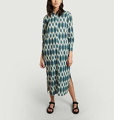 Robe-chemise longue imprimée en coton Reaction Ikat