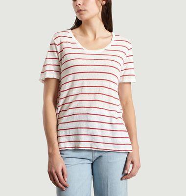 T-Shirt Rayé En Lin Terry