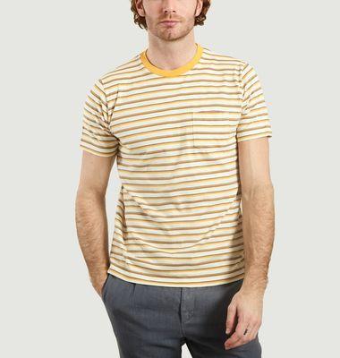 T-shirt rayé en coton à poche