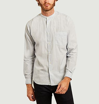 Chemise rayée premium à col mao