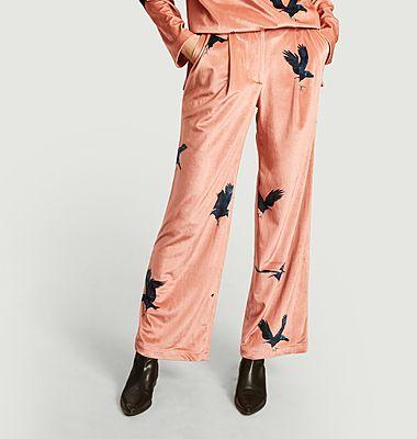 Moor ravens printed velvet loose trousers