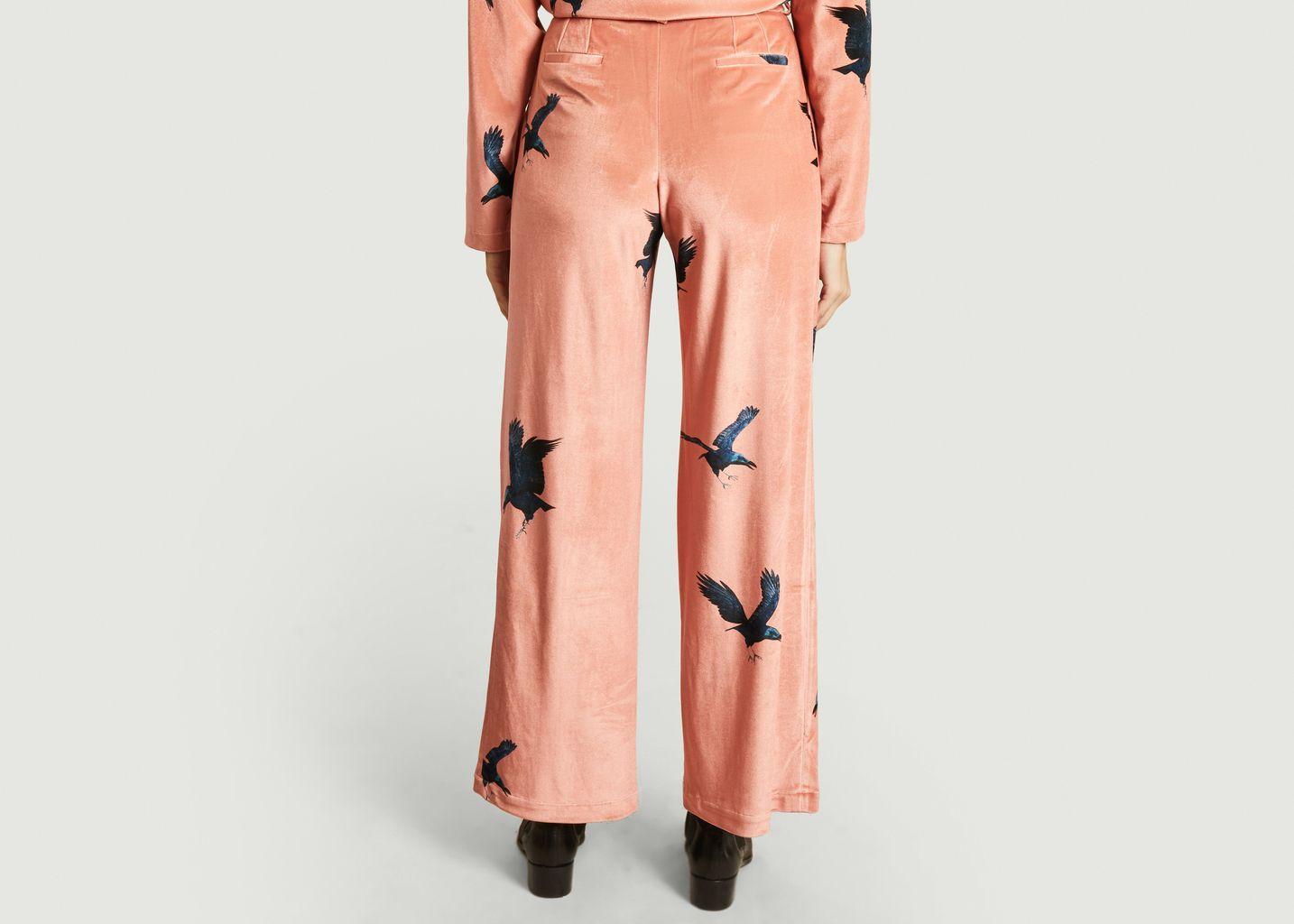 Pantalon large en velours imprimé corbeaux Moor - Heimstone