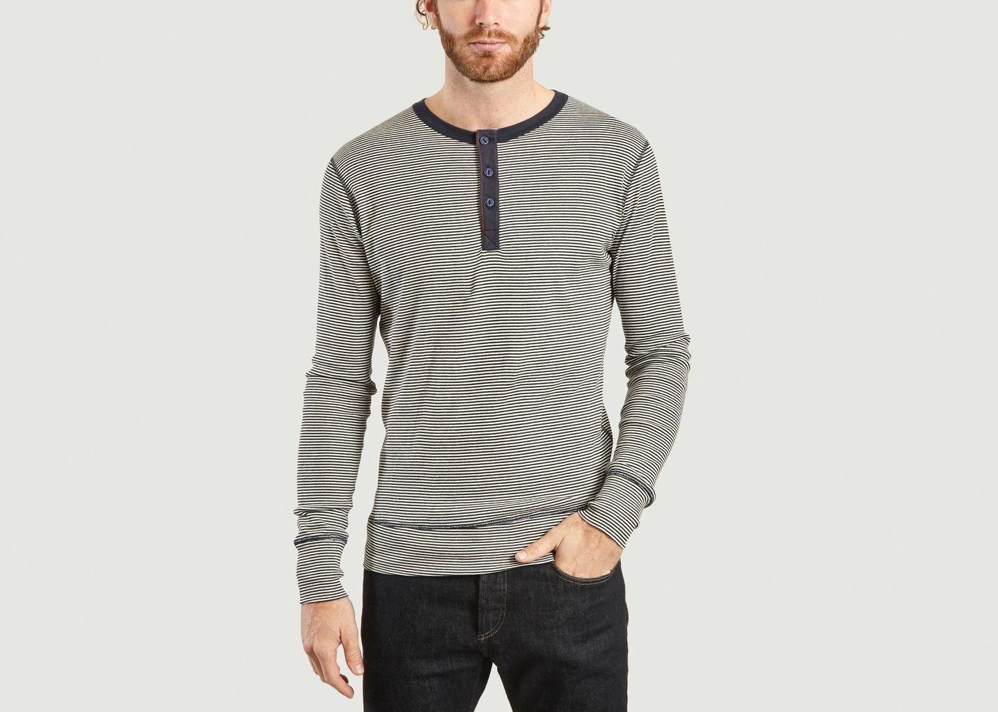 T-Shirt Manches Longues Henley Rayé Harri - Hemen