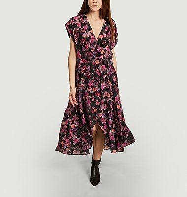 Plauna floral print silk long dress