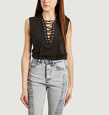 Handrea linen laced tank top