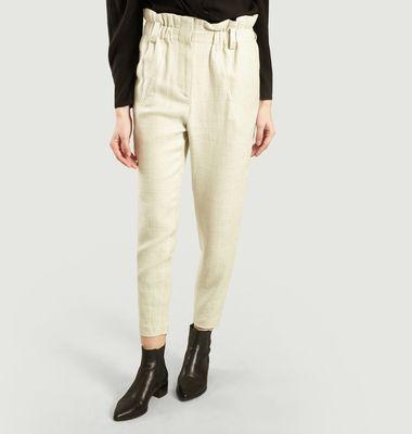 Pantalon Kaly en Lin Mélangé Taille Haute